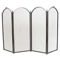FS33-4 Light weight 77cm high Black/Nickel 4 panel Steel Fire Screen