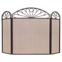 FS20-3 Loop Pattern 84cm high Black 3 panel Steel Fire Screen