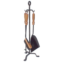 FPT022  24x24cm; Tongio 3 piece Fire Tool set w Stand; Black