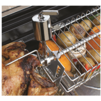 355mm L 190 W 55 D; CHROME BBQ Spit Rotisserie Grill Basket; adjustable; takes up to 12mm dia shaft