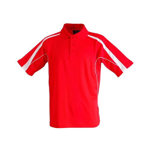FreePost;  5 of  PS53 Sz 3XL; Fashion Polo Shirt 60% Cotton 40% Polyester; 20 colours; Red with White