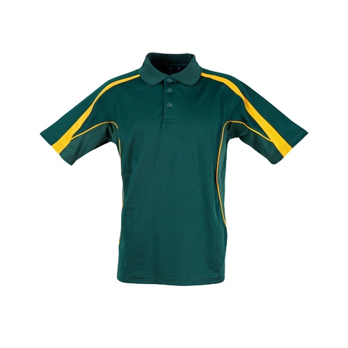 5 of  PS53 Sz M; Fashion Polo Shirt 60% Cotton 40% Polyester; 20 colours; Bottle Green with Gold