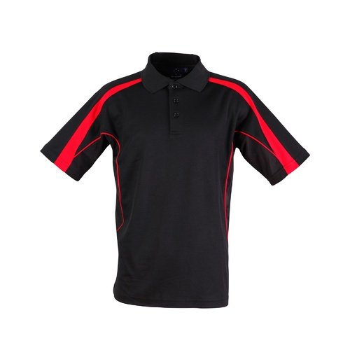 5 of  PS53 Sz M; Fashion Polo Shirt 60% Cotton 40% Polyester; 20 colours; Black with Red